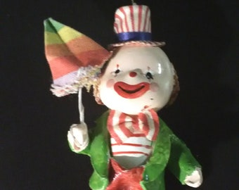 Creepy Cute Vintage Clown Ornament--Paper Mache