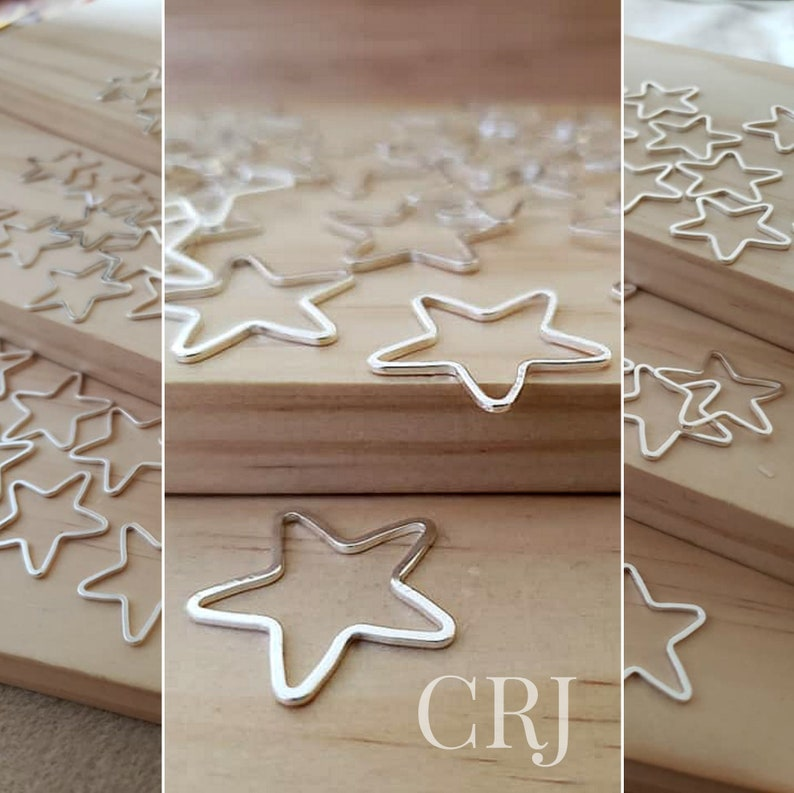 21mm Silver Tone Seamless Star Connector Findings