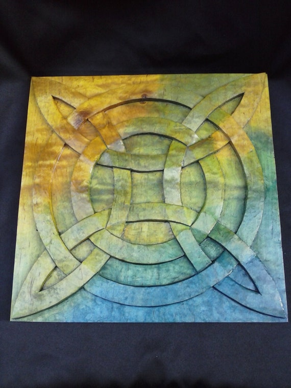 Celtic knot wood wall panel hand carved in figured maple