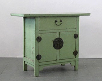 An Antique Chinese Country Style Light Green Lacquered Table Chest