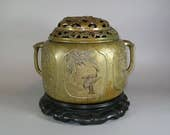 Large Antique Chinese Hand-Crafted Bronze Copper Incense Burner with Cover Censer PS898BZ