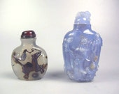Two Old Chinese Carved Chalcedony Agate Snuff Bottles
