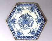 18th Century Chinese Blue and White Porcelain Hexagonal 39 Peony and Lotus 39 Plaque