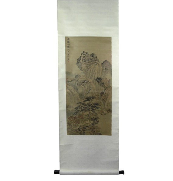 Antique Chinese Scrolls: Antique Chinese Landscape Scroll Painting Signed