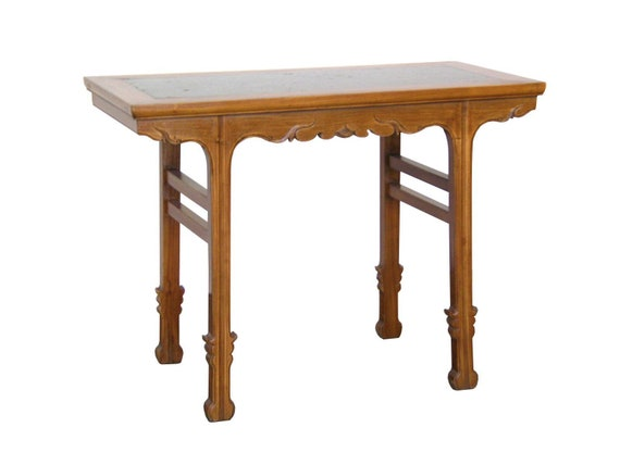 Side Table Chinees.Ming Style Vintage Chinese Side Table With Sword Style Legs And Pudding Stone Top