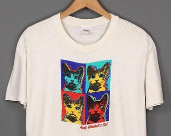 Vintage Andy Warhols Cats Pop Art T-shirt - 1987s Andy Warhols Pop Art Print T-shirt - 80s Andy Warhol Pop Art White T-shirt Made USA