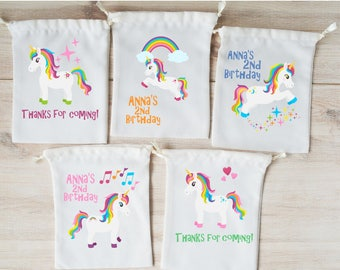 Unicorn Favor Bags Party Favors Personalized Gift Goodie Drawstring Birthday