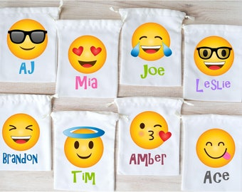 Emoji Favor Bags Party Favors Personalized Gift Goodie Drawstring Birthday