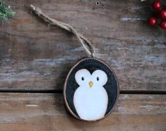 Penguin Ornament, Personalized Ornament, Wood Slice Ornament, Folk Art Christmas Decor, Hand Painted Ornament, Custom Christmas Ornament