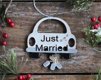 Just Married Ornament, Custom Wedding Ornament, Personalized Ornament, Married Car Ornament, Wedding Ornament, Bridal Shower Gift