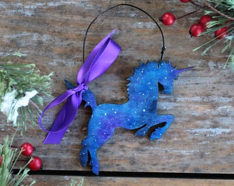 Unicorn Ornament, Galaxy Ornament, Personalized Ornament, Magical Christmas Ornament, Hand Painted Ornament, Personalized Unicorn Gift