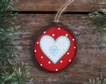 Personalized Christmas Ornament, Heart Ornament, Wood Slice Ornament, Stocking Stuffer, Hand Painted Ornament, Country Christmas Decor