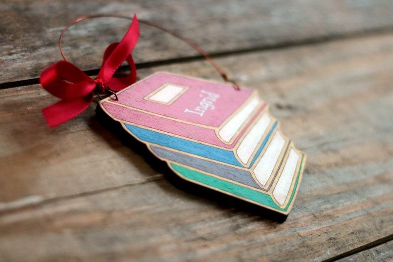 Personalized Stack of Books Ornament Custom Ornament for Teacher or Librarian Graduate Professor Student