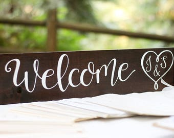 Welcome Wedding Sign, Personalized Welcome Sign, Rustic Wedding Sign, Hand Lettered Sign, Custom Welcome Sign, Custom Wedding Sign, 24 inch