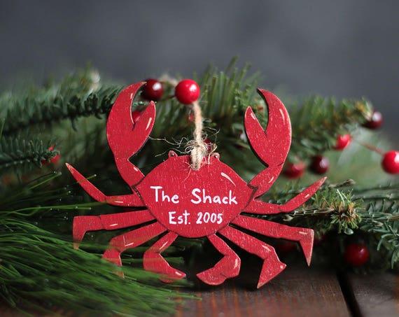 crab Christmas ornament crab gift beach ornament personalized beach Christmas ornament Beach ornaments personalized Christmas ornament