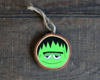 Halloween Ornament, Frankenstein Ornament, Wood Slice Ornament, Halloween Decor, Personalized Ornament, Frankenstein's Monster Decor