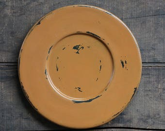 Primitive Plate Candle Plate Distressed Wooden Plate Fall Decor Chippy Paint Decor Rustic Home Decor Deep Mustard Candle Plate & Candle plate | Etsy