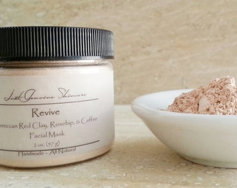 Revive | Moroccan Red Clay | Rosehip | Coffee | Facial Mask| Dry or Mature Skin