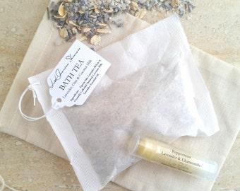 Gift Set   Lavender Oats & Coconut Milk   Lavender, Colloidal Oatmeal, and Coconut Milk Bath Tea   Lip Balm   All Natural