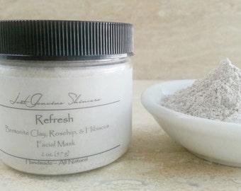 Refresh | Bentonite Clay | RoseHip | Hibiscus | Facial Mask | Normal or Combo Skin
