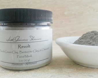 Revolt | French Green Clay| Bentonite Clay | Activated Charcoal | Facial Mask| Oily or Acneic Skin