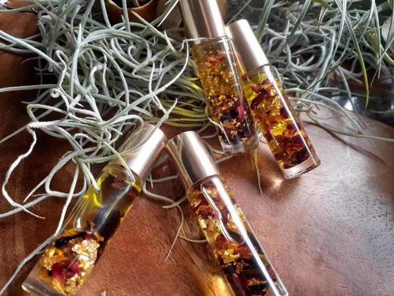 Lip Oil  Rose & Hibiscus  24k edible gold image 1