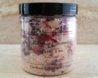 Rosehip Coconut Bath Tea | Dead Sea Salt | Rosehip | Rose & Hibiscus Flowers | Coconut Milk | Aromatherapy | Soak |
