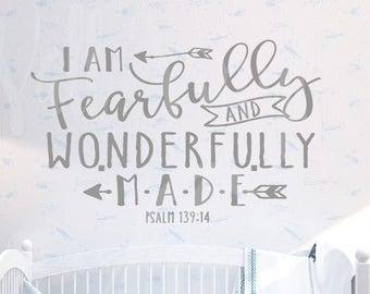 I am wonderfully and fearfully made, Psalm 139:14 Vinyl Decal, Wall Art, vinyl lettering,Wallvinylart,calligraphy art