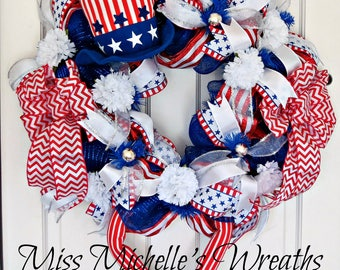 Uncle Sam Wreath, Uncle Sam Patriotic Wreath, Uncle Sam Decor