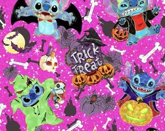Halloween Stitch Mouse Park Pink Cotton lycra knit fabric