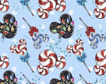 Mouse Lollipops Blue Christmas Cotton lycra knit fabric
