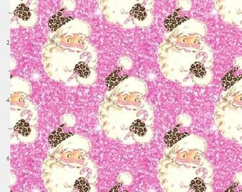 Santa Cheetah Pink  custom Cotton lycra knit fabric