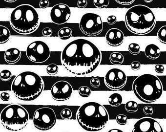 Jack Skellington black/white Stripe Cotton lycra knit fabric