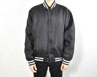 addb5d47bfb4 Vintage Black and White Nylon Ringer Baseball Jacket