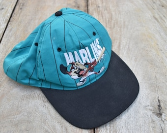 207a74bb04797 Vintage Green and Black Looney Tunes Florida Marlins Hat
