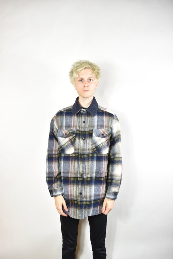 Vintage Grey and Blue Lined Oversized Flannel