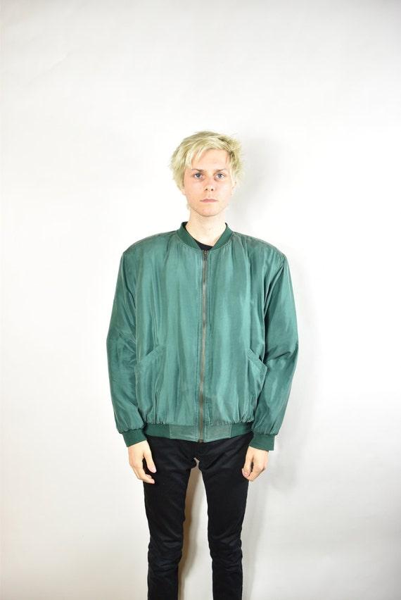 Vintage Green Silk Bomber Jacket