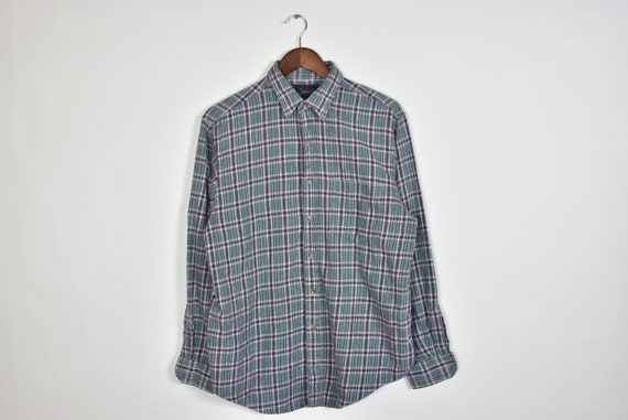 Vintage Green and Purple Flannel Button Up Shirt