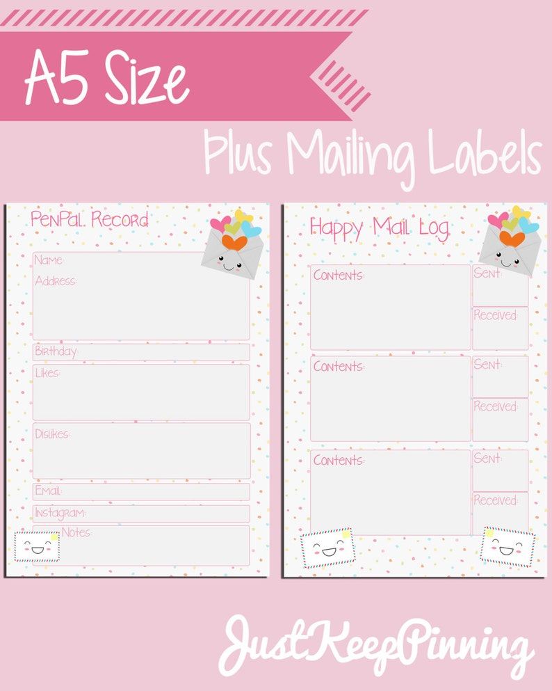 Pen Pal inserts for A5 sized Filofax - Happy mail record keeping