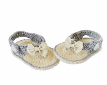 Baby Flip Flops, Baby Sandals, Gray sandals, Crochet Baby Flip Flops, Summer Baby Shoes, Crochet Baby Sandles, Girl Sandles