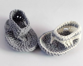 Baby Flip Flops, Baby Sandals, Gtay baby sandals, Crochet Baby Flip Flops ,Boy flip flops Summer Baby Shoes, Crochet Sandles, Boy Sandles