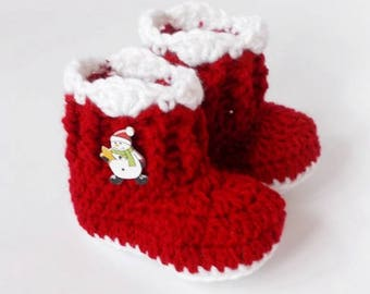 Christmas baby booties, Santa baby shoes, Crochet snowmen booties, Red white shoes, Knitted baby boots, Baby shoes, Newborn Christmas shoes