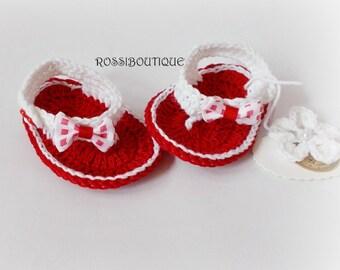 Crochet Baby Flip Flops, Baby Sandals, Red white baby sandals, Baby Flip Flops, Summer Baby Shoes, Crochet Baby Sandals, Girl Sandles