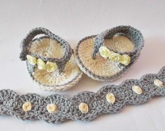 Crochet Baby Flip Flops Baby headband Gray Champagne sandals Newborn flip flops Crochet Baby headband Baby Shoes Crochet Baby Sandles