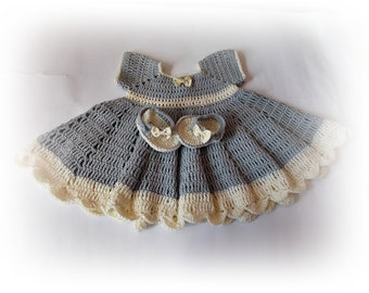 432e5e9bd Crochet Baby Dress Baby set Baby dress and shoes Newborn