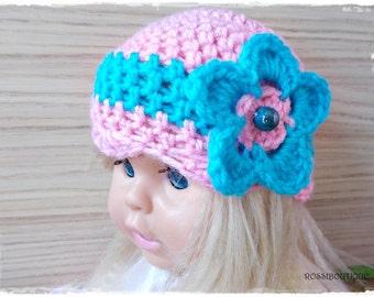 Crochet baby hat, Pink blue baby hat, Crochet girl hat, Pink Baby hat, Crochet toddler hat, Newborn hat, baby hat, Newborn baby Photo Prop