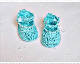Uncinetto bambino blu scarpe uncinetto bambino scarpe stivali di battesimo benedizione stivaletti bambino Sandali maglia bambino scarpe bambino neonato uncinetto bambino