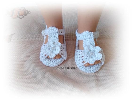 Häkeln Sie Sandalen häkeln babysandalen weiße Baby | Etsy