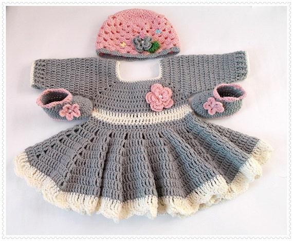 Häkeln Babykleid Hut Schuhe Baby Set Neugeborenen Kleider Etsy