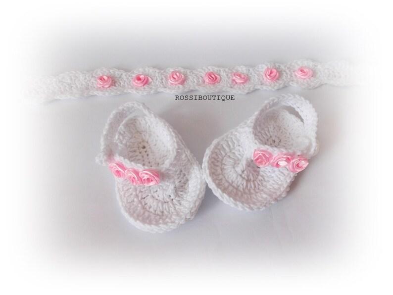 f780f812b2aaa Baby set flip flops headband Crochet baby Flip Flops headband White sandals  Newborn flip flops headband set Baby Shoes Sandles